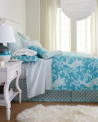 turquoise & white bedding set