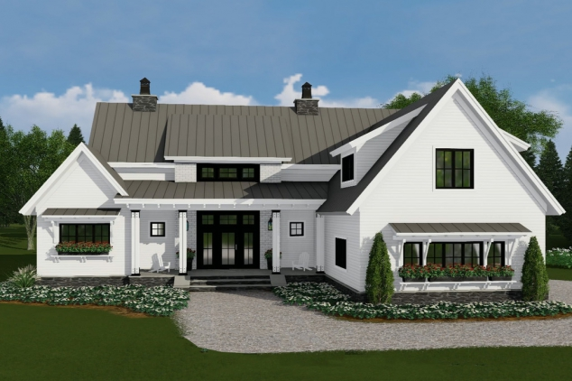 Two Story, 4 Bedroom, 3.5 Bathroom, 3 Car Modern Farmhouse Plan