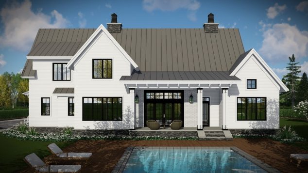 Two Story, 4 Bedroom, 3.5 Bathroom, 3 Car Modern Farmhouse Plan - Image 2