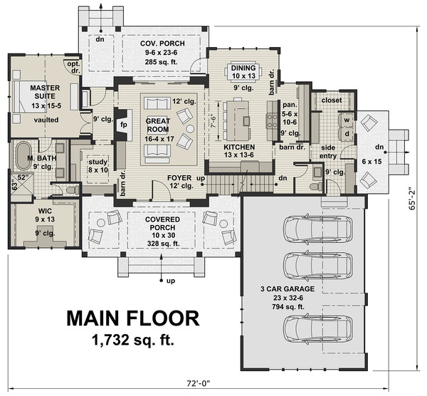 Two Story, 4 Bedroom, 3.5 Bathroom, 3 Car Modern Farmhouse Plan - Image 3