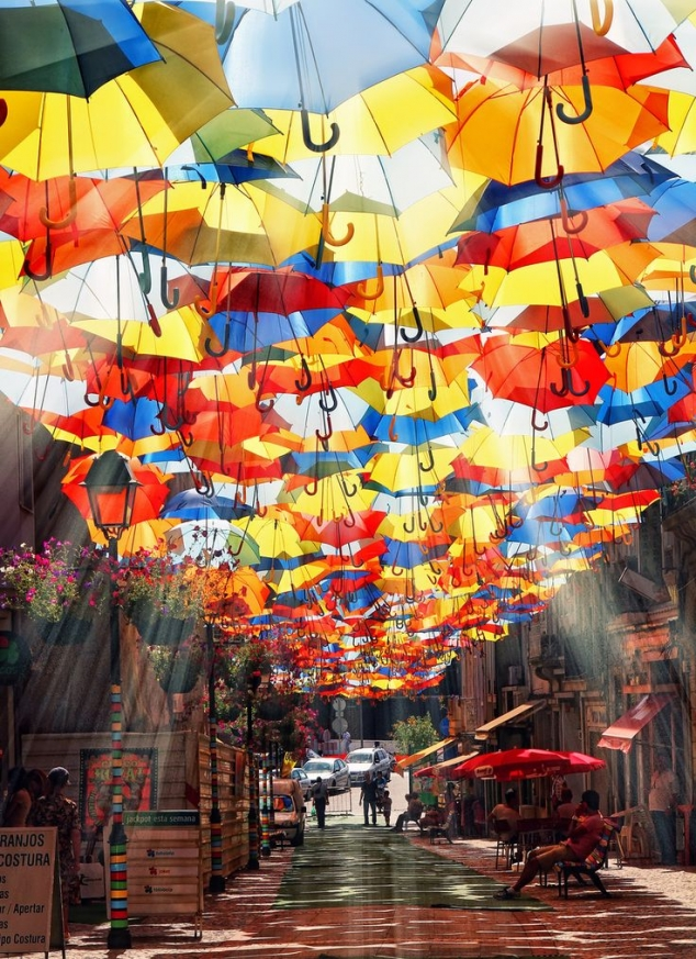 Umbrella Sky Project in Agueda, Portugal