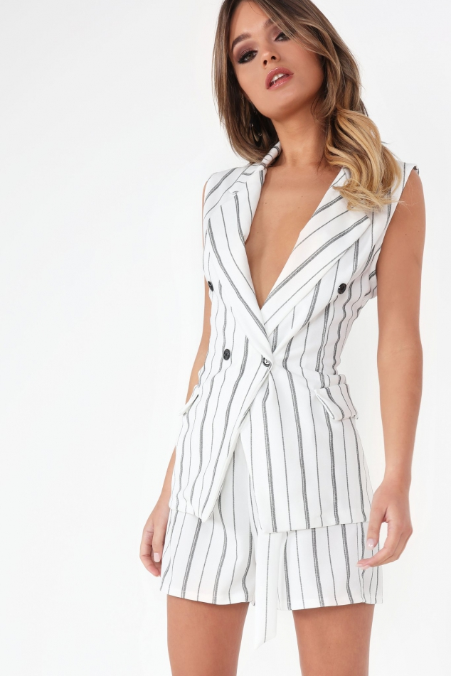 Vavavoom Tamatha White and Black Pinstripe Blazer and Shorts Co-Ord