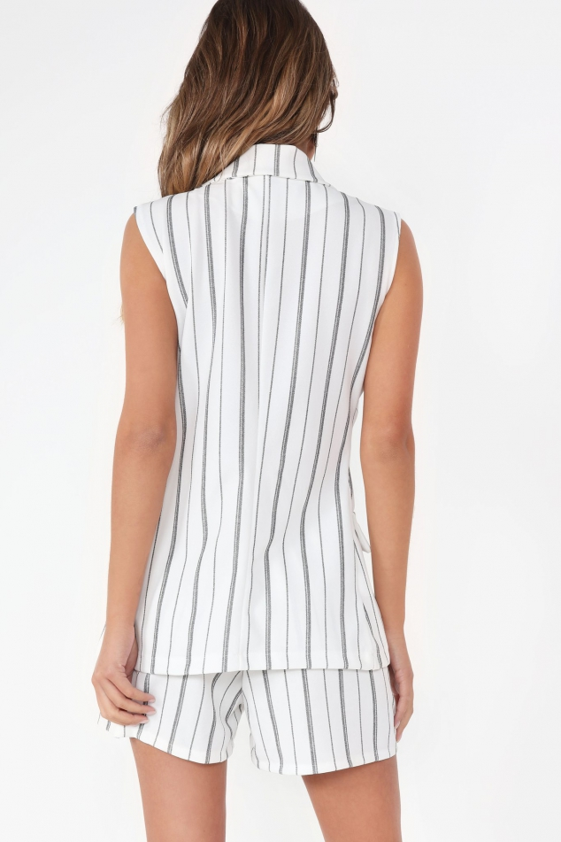 Vavavoom Tamatha White and Black Pinstripe Blazer and Shorts Co-Ord - Image 2