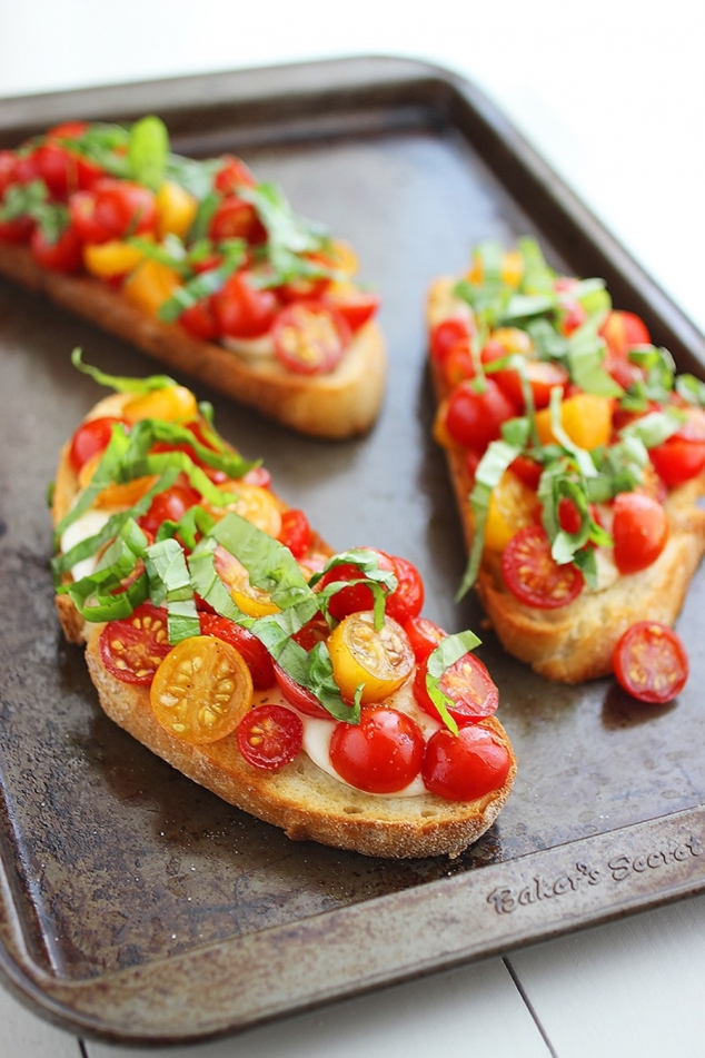Warm tomato & mozzarella bruschetta in Food & Drink