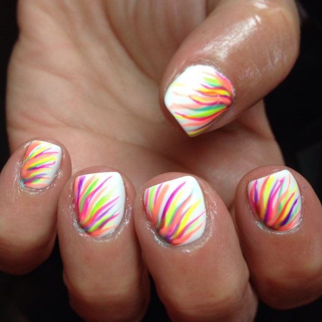 White nails with neon design