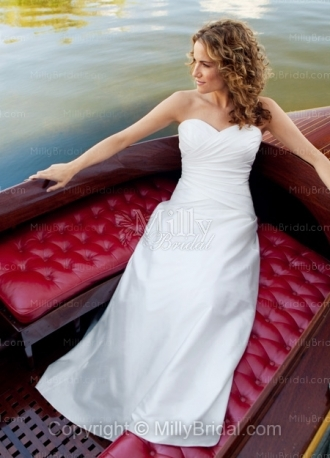White Taffeta Floor Length Sweetheart Empire Wedding Dress