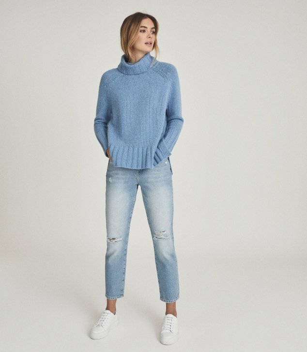 Wool Cashmere Blend Roll Neck Sweater