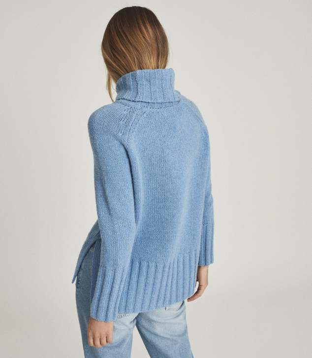 Wool Cashmere Blend Roll Neck Sweater - Image 2
