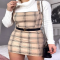Camel Check Pinafore Dress - Comfy Clothes