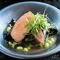 Nori-wrapped Salmon with Black Trumpet Mushrooms & Soy Beans in Miso Broth - Food & Drink