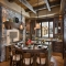 Rustic kitchen with double island