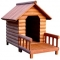Log dog house with front porch